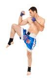 Kickbox wojownik wykonuje kopnięcie Zdjęcie Royalty Free