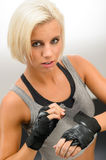 Kickbox woman wear protective gloves Stock Image