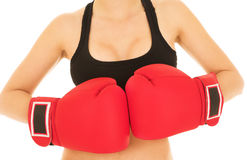 白种人kickboxer性感的妇女 图库摄影