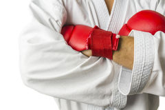 Kickboxer arms detail stock photography