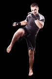 Kickboxer on black Stock Photos
