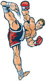 Kickboxer che esegue l'alta illustrazione laterale di vettore di scossa Fotografie Stock