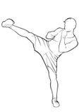 Kickboxer Contorno del vector Foto de archivo