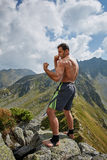 Kickboxer or muay thai fighter training on a mountain Stock Photos