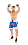 Kickboxer na posição do protetor Foto de Stock