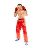 Kickboxer na posição do protetor Fotos de Stock