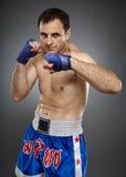Kickboxer na posição do protetor Foto de Stock Royalty Free