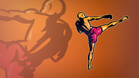 Kickboxer in a pose. Sport logo-style Stock Images