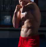Kickboxer in red panties Stock Photo
