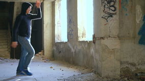 Kickboxer shadow boxing as exercise for the big fight, slow motion.  stock video footage
