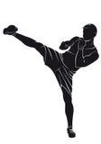 Kickboxer Silueta del vector Imagen de archivo