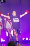 Kickboxer som skriver in i cirkel Royaltyfri Fotografi
