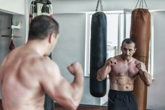 Kickboxer training in the gym Royalty Free Stock Image