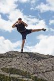Kickboxer training outdoor Stock Photos