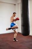 Kickboxer training with punchbag Royalty Free Stock Image