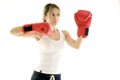 Kickboxer woman training Stock Photo
