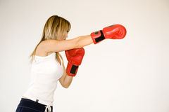 Kickboxer woman training Stock Images