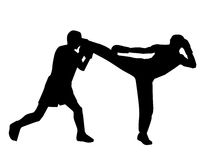 Kickboxers. A sparring match between kickboxers Royalty Free Stock Image
