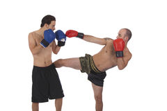 Kickboxers fighting Royalty Free Stock Image