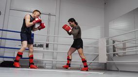 Kickboxers-Kampf-Zug-Sport Ring Workout Session stock video footage