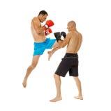 Kickboxers sparring on white Stock Photo