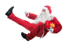 Kickboxing Санта Клаус Стоковые Изображения RF