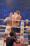 Kickboxing. Lucian Danilencu (Romania) vs. Jantje  Siersma (Holland) at at Superkombat Final Elimination, october 15, Piatra Neamt Stock Photography