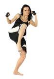 Kickboxing female. Active woman kick boxer posing isolated on white background Stock Images
