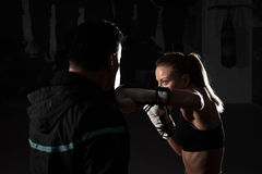 Kickboxing female training Stock Photos