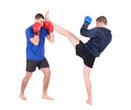 Kickboxing Fight. Isolated on a white background. Studio shot stock image