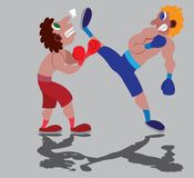 Kickboxing game in progress. A kickboxer gives his opponent some heavy blows Royalty Free Stock Image