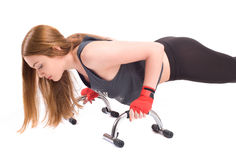 Kickboxing girl exercise in studio Stock Photos