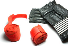 Kickboxing gloves. Gloves and bandage for a kickboxing Royalty Free Stock Photo