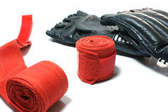 Kickboxing gloves. Gloves and bandage for a kickboxing Stock Photos