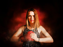 Kickboxing gym girl in boxing fitness competition Royalty Free Stock Photos