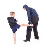 Kickboxing kids with instructor Royalty Free Stock Images