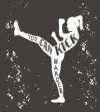 Kickboxing vektorillustration med bokstäver Royaltyfria Foton