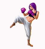 Kickboxing Woman illustration. A digital illustration of a female kick boxer Royalty Free Stock Photography