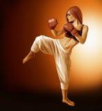 Kickboxing Woman illustration. A digital illustration of a female kick boxer Royalty Free Stock Images