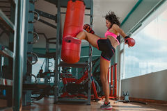 Kickboxing young woman Royalty Free Stock Image