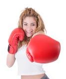 Kickboxingsmeisje stock foto's