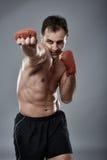 Kickboxvechter op grijze achtergrond Royalty-vrije Stock Foto's