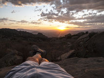 Kicked Back California Sunset. Relaxed kicked backed sunset hiker legs Stock Image
