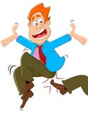 Kicked boss. An employee is kicked by the boss Royalty Free Stock Photos