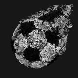 Kicked Soccer Ball in Black and White - Pulsing Smeared Colors, Fire Design. Kicked and Flying Soccer Ball in Black and White in Pulsing Smeared Colors, Fire Royalty Free Stock Photo