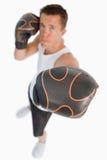 Kicken metar beskådar av boxare royaltyfri fotografi