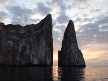 Kicker Rock during sunrise. At San Cristóbal island in the Galápagos archipelago Stock Photo