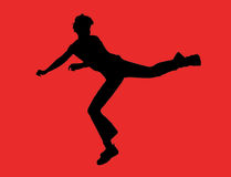 Kicking boy. Easy to select and use on whatever background Royalty Free Illustration