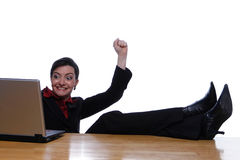 Kicking the Feet Up and Winning royalty free stock photography