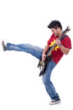 Kicking guitarist Stock Image